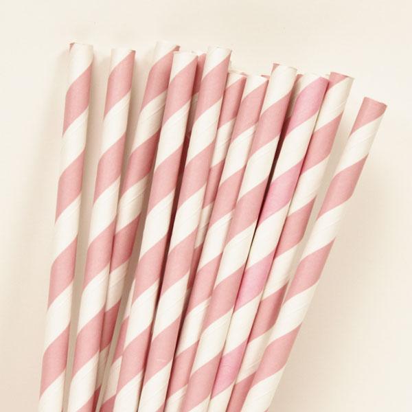 brčko bílo-růžové - pruhy - 20ks