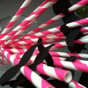 brčko bílo-růžové knírkem- pruhy - 20ks