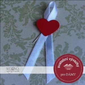 Svatební mašličky - srdce BÍLÁ STUHA- 10KS