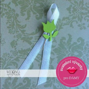 Svatební mašličky - tulipán BÍLÁ STUHA- 10KS