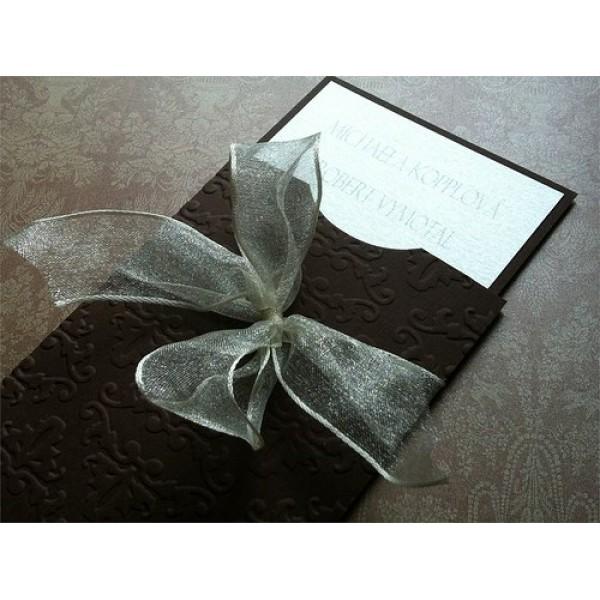 Svatební oznámení - Čokolada a damašek