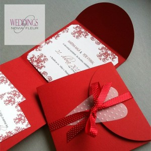 Svatební oznámení - Red damask HEART