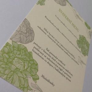 svatební menu -ZELENÉ PIVOŇKY