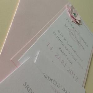 Svatební oznámení - růžová květina