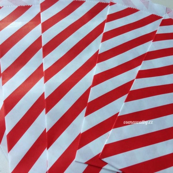 Papírový sáček - pruhy 10 ks - červená