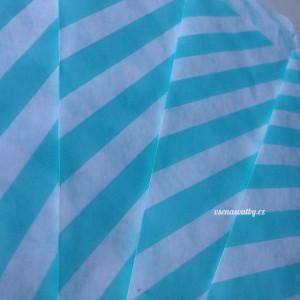 Papírový sáček - pruhy 10 ks - tyrkysová