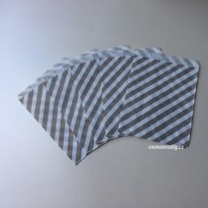 Papírový sáček - pruhy 10 ks - Šedá