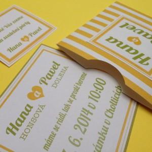 Svatební oznámení - Yellow stripes I.