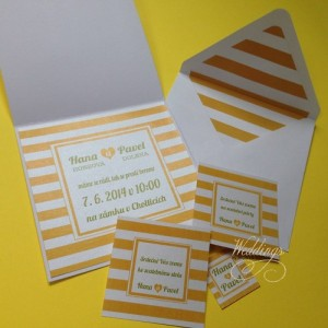 Svatební oznámení - Yellow stripes II.