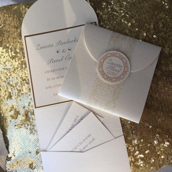 Svatební oznámení -GOLD&CREME